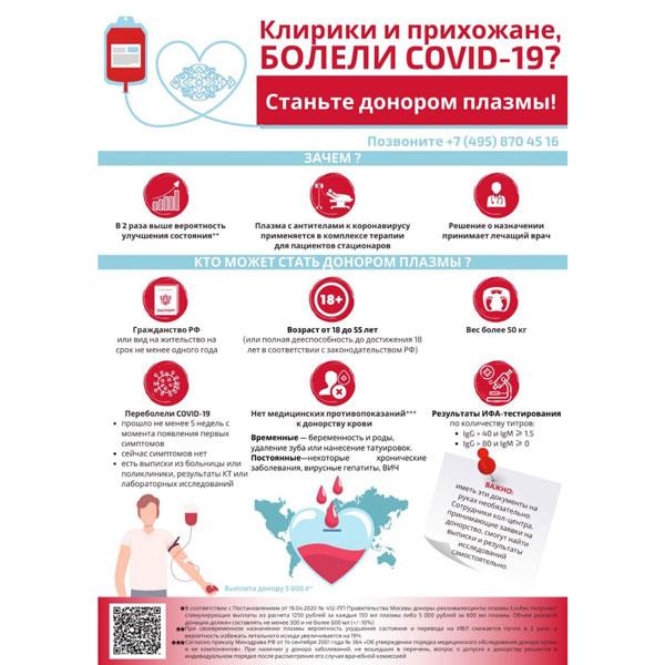 Став донорами плазмы крови, переболевшие COVID-19 клирики и прихожане могут помочь тем, кто находится из-за заражения коронавирусом в тяжелом состоянии